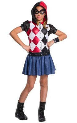 Child Hooded Harley Quinn Dress Costume