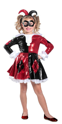 Kid Shiny Harley Quinn Dress Costume